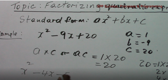 Factorizing Quadratic Expressions