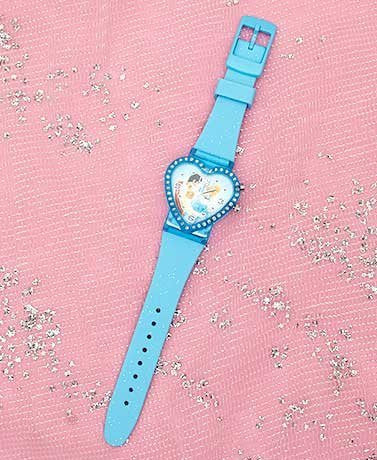 Disney Cinderella Princess Heart Shaped Rhinestone Watch-blue Strap