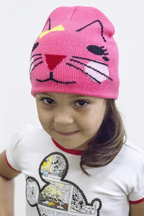 Pretty Light Pink GRAPHIC CAT ACCENT KIDS BEANIE