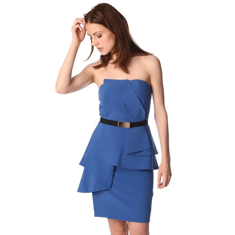 Q2 Electric blue bandeau mini dress with peplum detail and belt