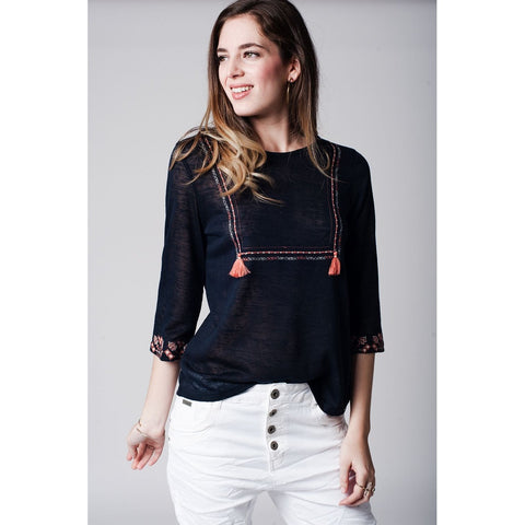 Navy blue top with embroidered detail