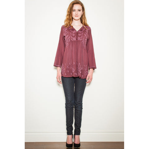 Adoire Burgundy Embroidered Tunic