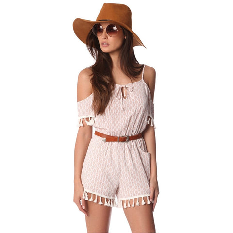 Q2 White printed romper with cold shoulder