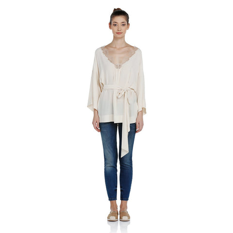 EXQUISE French Lace Kimono Blouse
