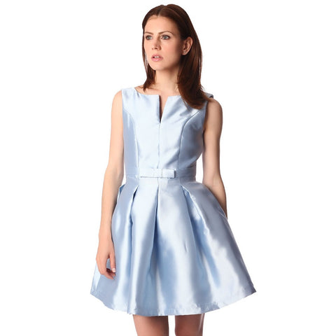 Q2 Blue bow waist skater dress