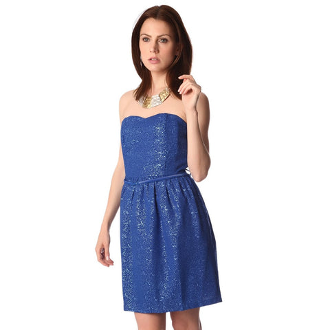 Q2 Electric blue strapless party dress