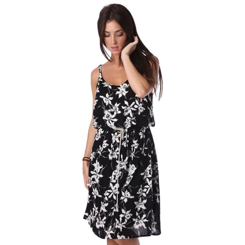Q2 Black dress in floral print with drawstring waist