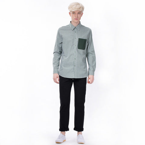 Controlled Commodity The Contrast Pocket Shirt in Green Check