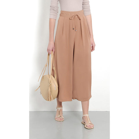 Her Velvet Vase High Waisted Palazzo Pants Brown