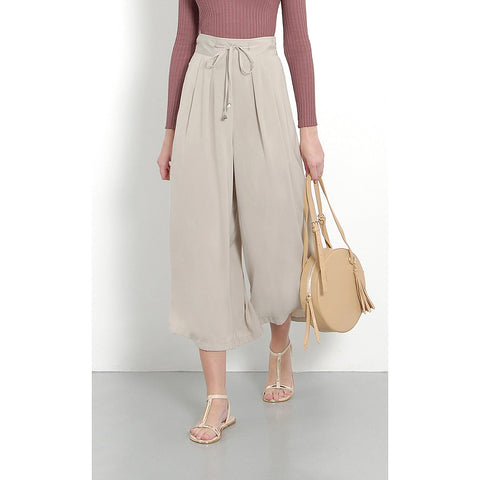 Her Velvet Vase High Waisted Palazzo Pants Grey