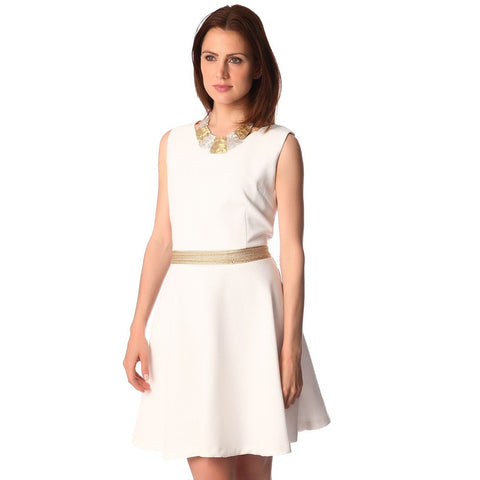 Q2 White textured skater dress with belted waist detail