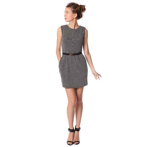 Q2 Black fit & flare dress in check