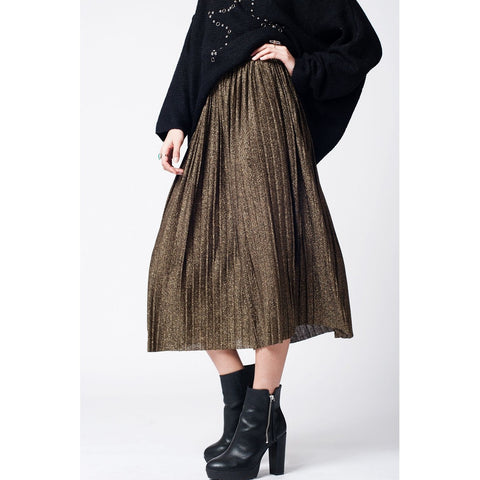Q2 Black pleated skirt with gold lurex