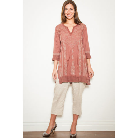 Adoire Pink Embroidered Tunic