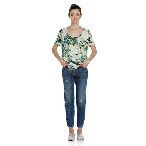 EXQUISE Floral Printed Linen Blend T-Shirt