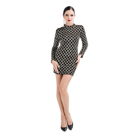 Evelyn Belluci Black Sequined Grid Dress