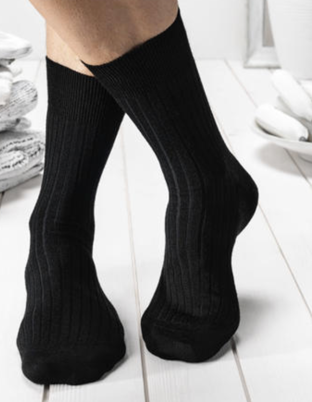 Men's Executive-Rib Black Bamboo and Organic Cotton Socks