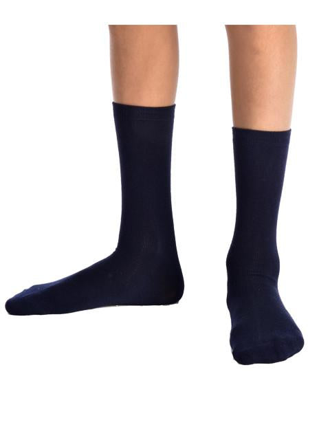 HHH 3PK Navy Ankle Super-Soft Bamboo School Socks