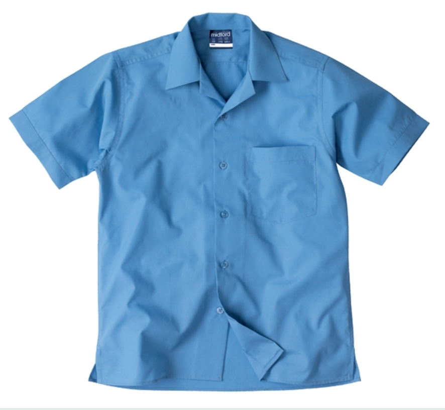 SALE - Midford School Blue Open Neck Boys Shirt S/S