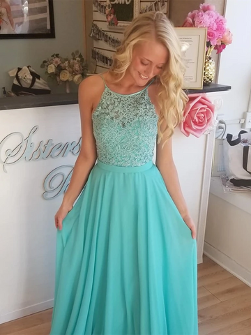 Blue/ Aqua Backless Lace Long Prom Dresses, Aqua Lace Bridesmaid Dresses, Blue Lace Formal Evening Dresses