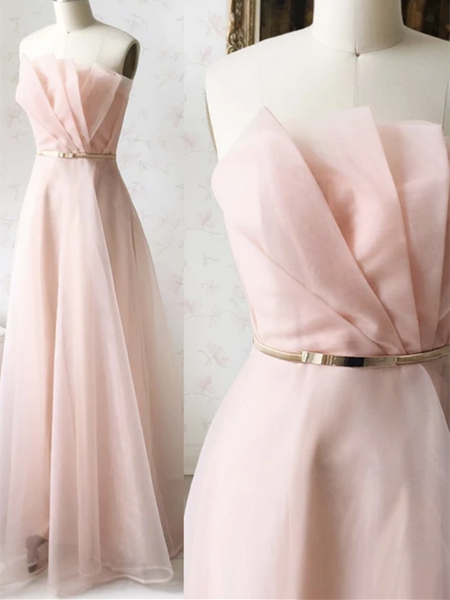 Unique Strapless Pink Tulle Long Prom Dresses,  Strapless Pink Tulle Long Formal Evening Dresses