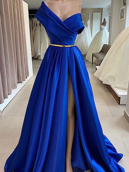 One Shoulder Royal Blue Satin Long Prom Dresses With Side Leg Slit , Royal Blue Long Formal Evening Dresses