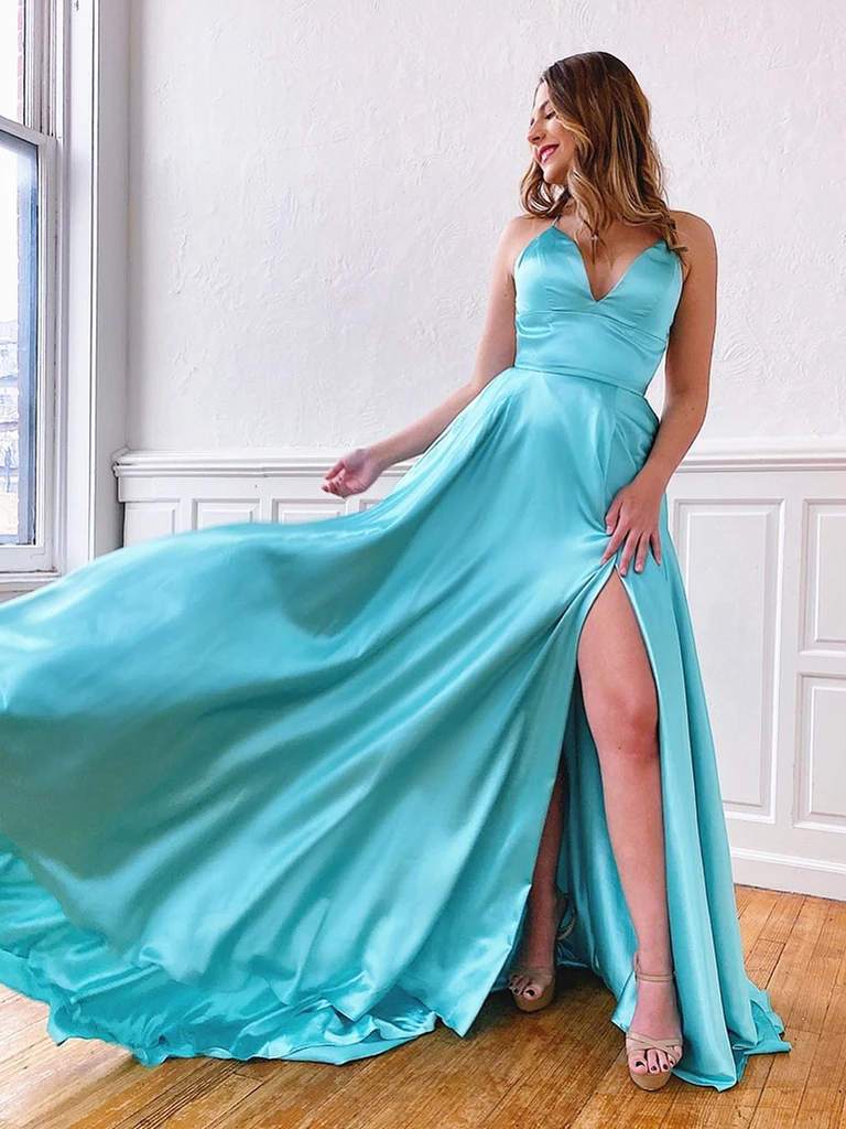 V Neck Blue/Aqua Spaghetti Straps Backless Long Prom Dresses With Leg Slit, Backless Blue/Aqua Long Formal Evening Graduation Dresses