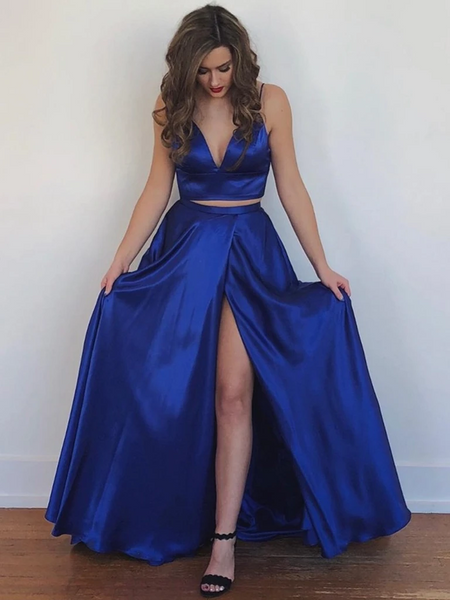 A Line V Neck Two Pieces Backless Royal Blue Prom Dresses with High Slit, 2 Pieces Royal Blue Backless Formal Evening Dresses