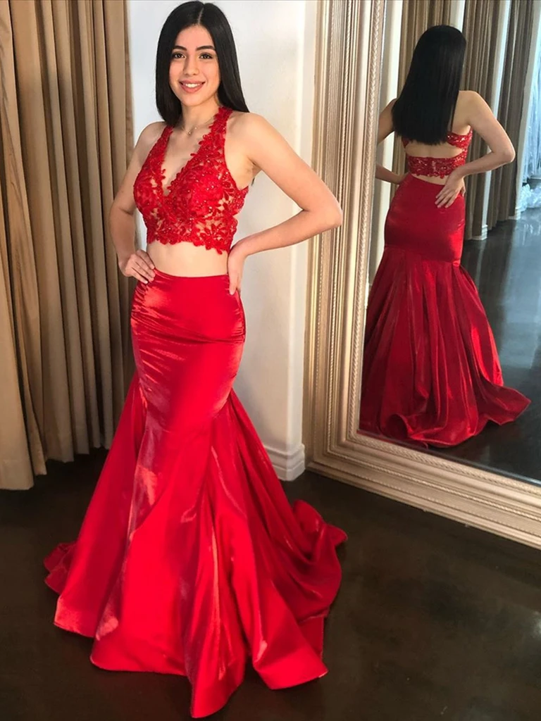 V Neck Red Mermaid Lace Top Two Pieces Long Prom Dresses, 2 Pieces Red Lace Mermaid Formal Evening Dresses