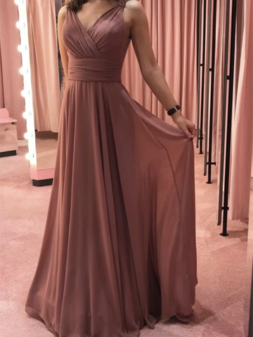 Simple V Neck Pink Chiffon Long Prom Dresses,  V Neck Pink Chiffon Long Formal Evening Bridesmaid Dresses