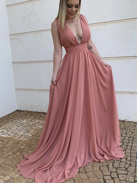 A Line V Neck Pink Chiffon Long Prom Dresses, V Neck Pink Chiffon Long  Formal Evening Graduation Dresses