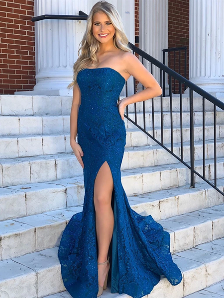 Mermaid Strapless Tube Top Blue Lace Prom Dresses with Side Leg Slit, Blue Lace Formal Evening Graduation Dresses