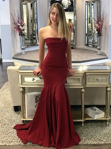 A Line Mermaid Maroon/Burgundy Strapless Satin Long Prom Dresses, Mermaid Maroon/Burgundy Formal Evening Graduation Dresses