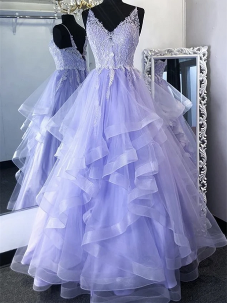 V Neck Purple Lace Long Prom Gown, Lilac Lace Formal Evening Party Dresses, Purple Lace Long Prom Dresses