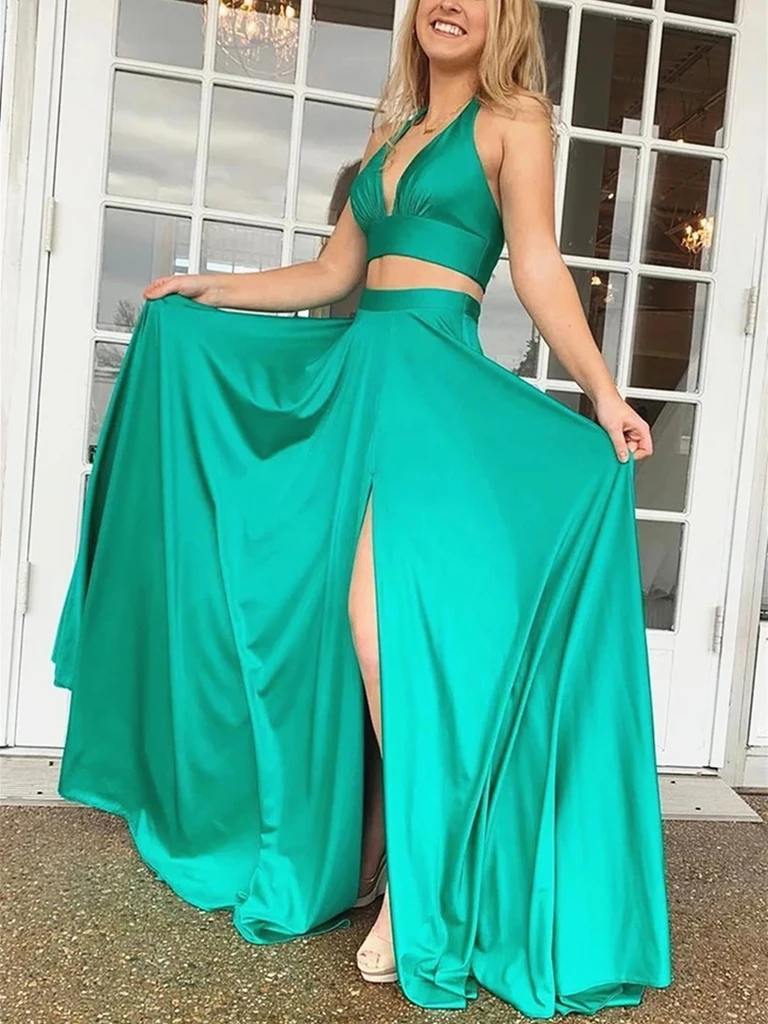 A Line V Neck Green Two Pieces Satin Long Prom Dresses, Green 2 Pieces Satin Long Formal Evening Graduation Dresses