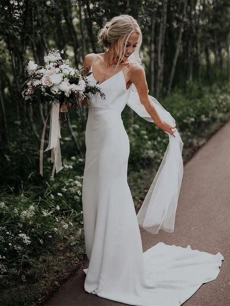 Sheath V Neck Spaghetti Straps Mermaid White Backless Beach Wedding Dresses, Mermaid Bridal Dresses,  Simple Mermaid White Backless Prom Dresses With Train
