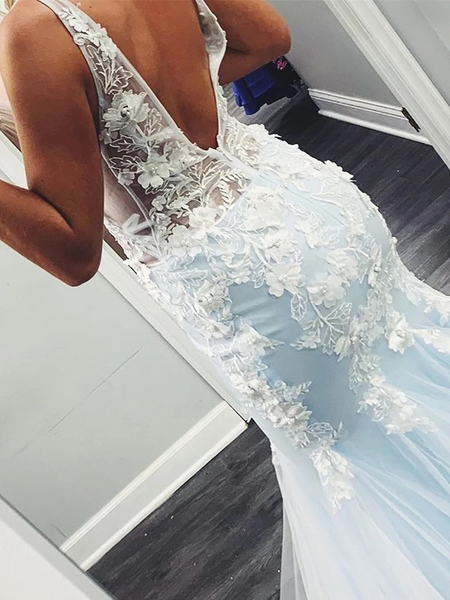 V Neck Mermaid Blue Open Back Lace Appliques Floral Long Prom Dresses, Lace Appliques Floral Mermaid Blue Formal Evening Dresses