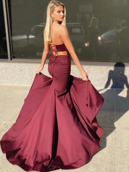 Mermaid Strapless Tube Top Burgundy/Maroon Satin Prom Dresses with Side Leg Slit, Mermaid Formal Evening Graduation Dresses