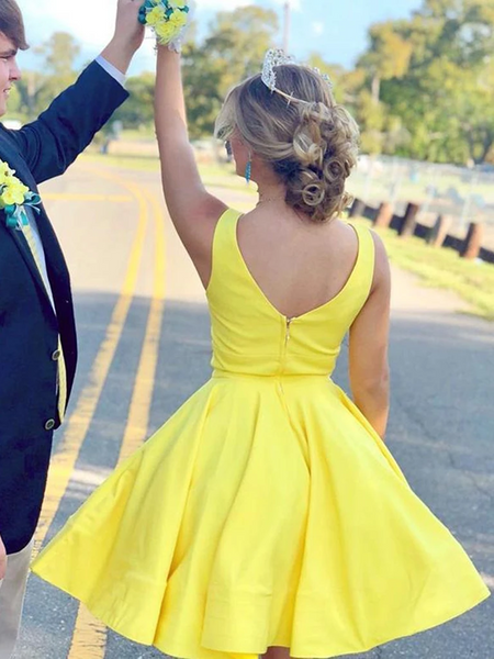 A Line V Neck Yellow Satin Short Prom Dresses, Yellow Satin Short Formal Evening Homecoming Graduation Dresses