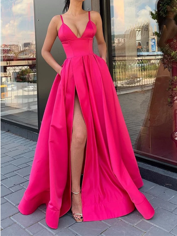 V Neck Blue/Pink Long Prom Dress with Leg Slit, V Neck High Slit Long Formal Evening Graduation Dress
