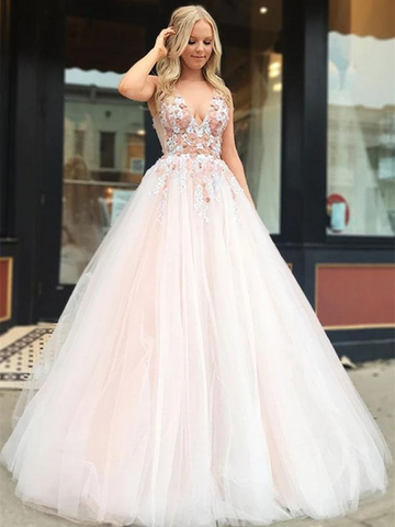 V Neck Light Pink Tulle Lace Applique Long Prom Dresses, Light Pink Tulle Lace Applique Long Formal Evening Dresses