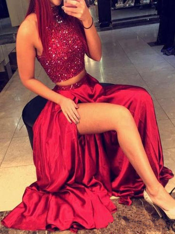 Custom Made A Line High Neck 2 Pieces Red Prom Dresses, 2 Pieces Red Formal Dresses