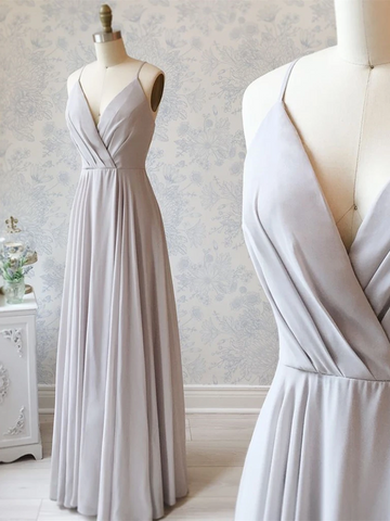Simple V Neck Gray A Line Long Prom Dresses, V Neck Grey Formal Evening Graduation Dresses