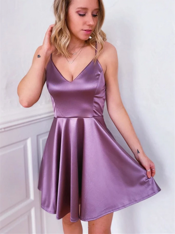 Simple V Neck Purple Satin Short Prom Dresses,  V Neck Purple Satin Short Homecoming Dresses