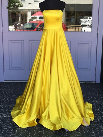 Simple Strapless Yellow Satin Long Prom Dresses, Strapless Yellow Satin Long Formal Evening Graduation Dresses