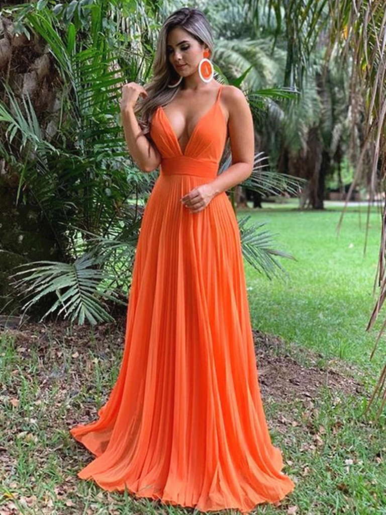 Sexy Deep V Neck Orange Chiffon Open Back  Prom Dresses, Backless Orange Formal Evening Dresses