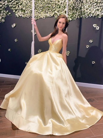 A Line V Neck Backless Satin Yellow Long Prom Dresses, Open Back Yellow Satin Formal Evening Graduation Dresses