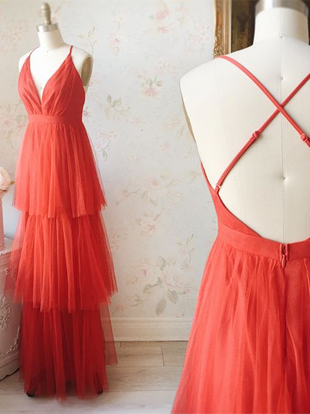 V Neck Orange Red Backless Tulle Prom Dresses, Backless Orange Red Formal Evening Dresses