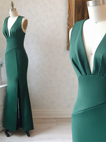 Mermaid V Neck Green Satin Long Prom Dresses, Green Mermaid Long Formal Evening Dresses