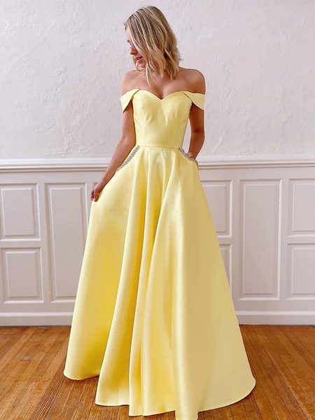 Off Shoulder Yellow/Pink Long Prom Dresses with Pockets, Off the Shoulder Pink/Yellow Formal Evening Dresses